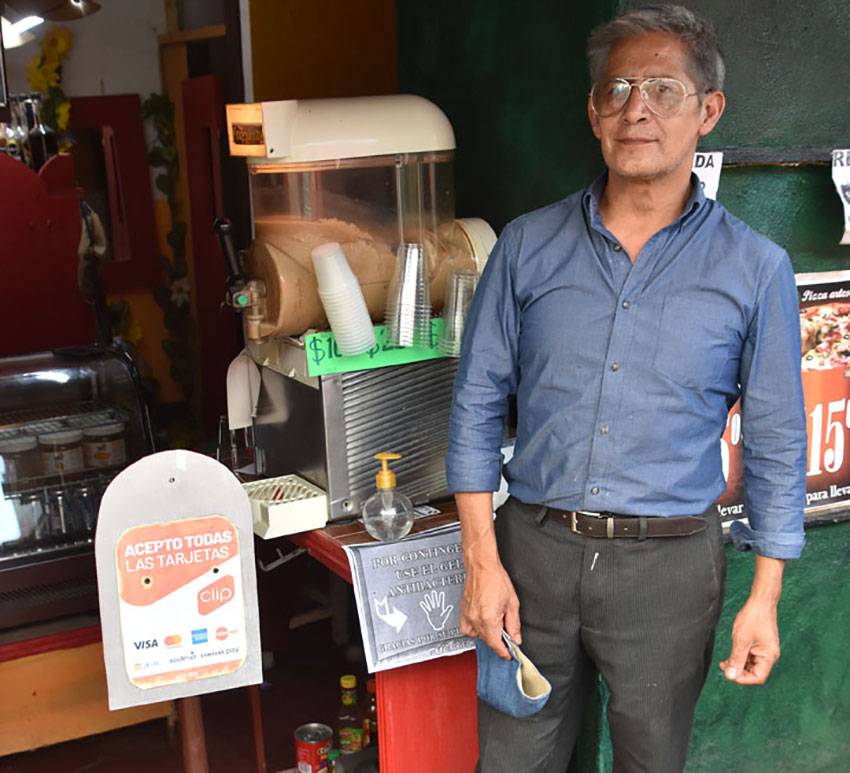 Coffee shop owner Valentin Zavala is barely hanging on.