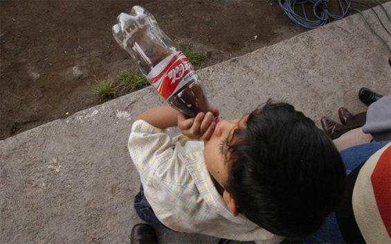 drinking coca-cola