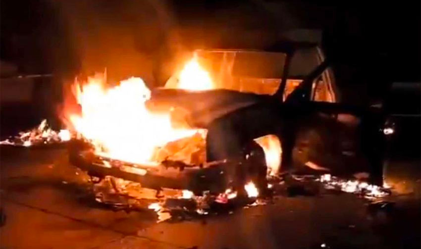 Several vehicles were set on fire during the melee.