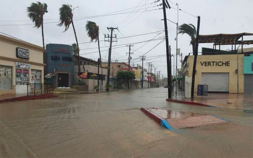 Rain began falling early Wednesday in Los Cabos.