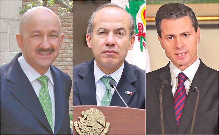 Former presidents, from left, Salinas, Calderón and Peña Nieto.