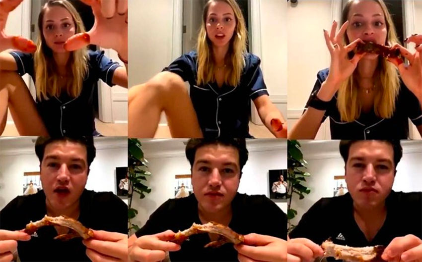Frames from the video chat between the senator and his wife.