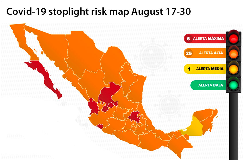 A splash of yellow has appeared on the coronavirus stoplight map, on which orange now dominates.