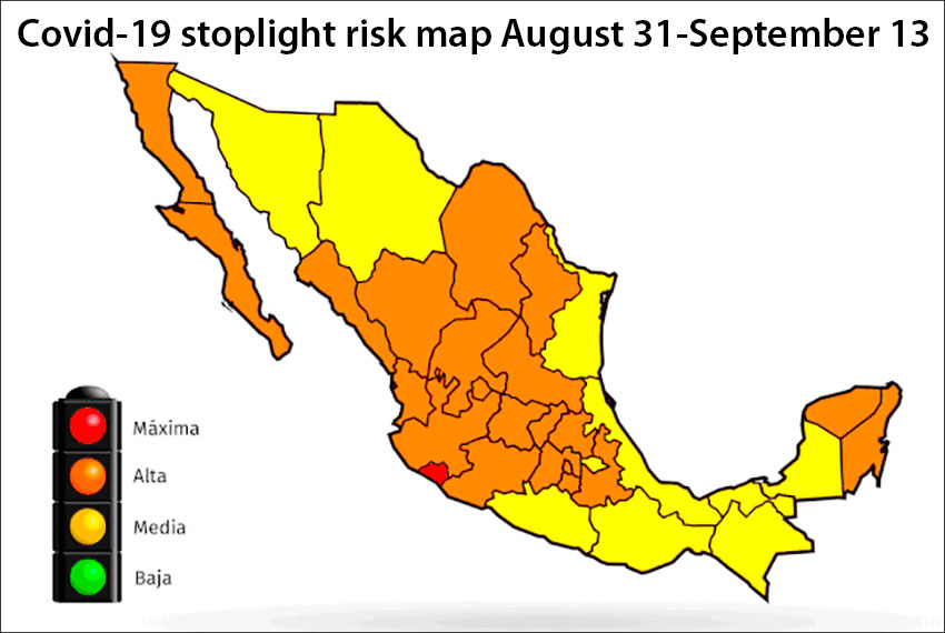 Mexico changes color as the coronavirus risk level drops in more states.