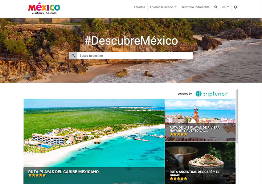 VisitMéxico.com, back on line and with mistranslations corrected.