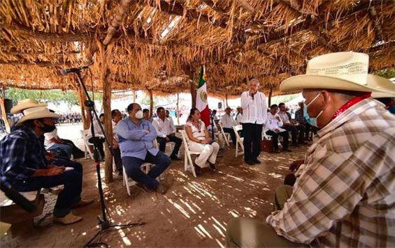 The president speaks to representatives of the Yaqui people on Thursday.