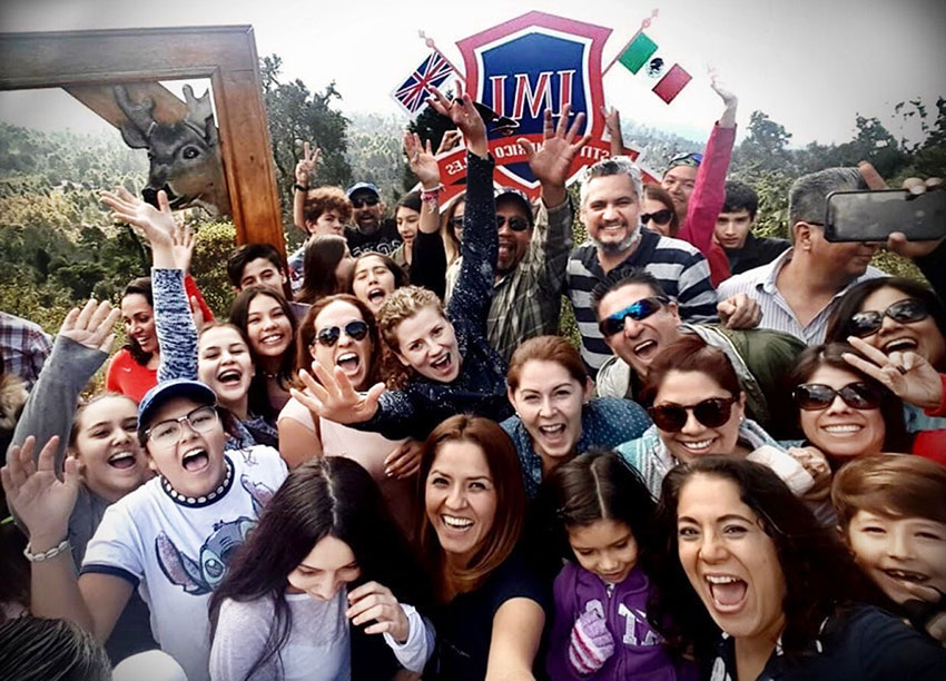 Happy parents and students at IMI College in Guadalajara.