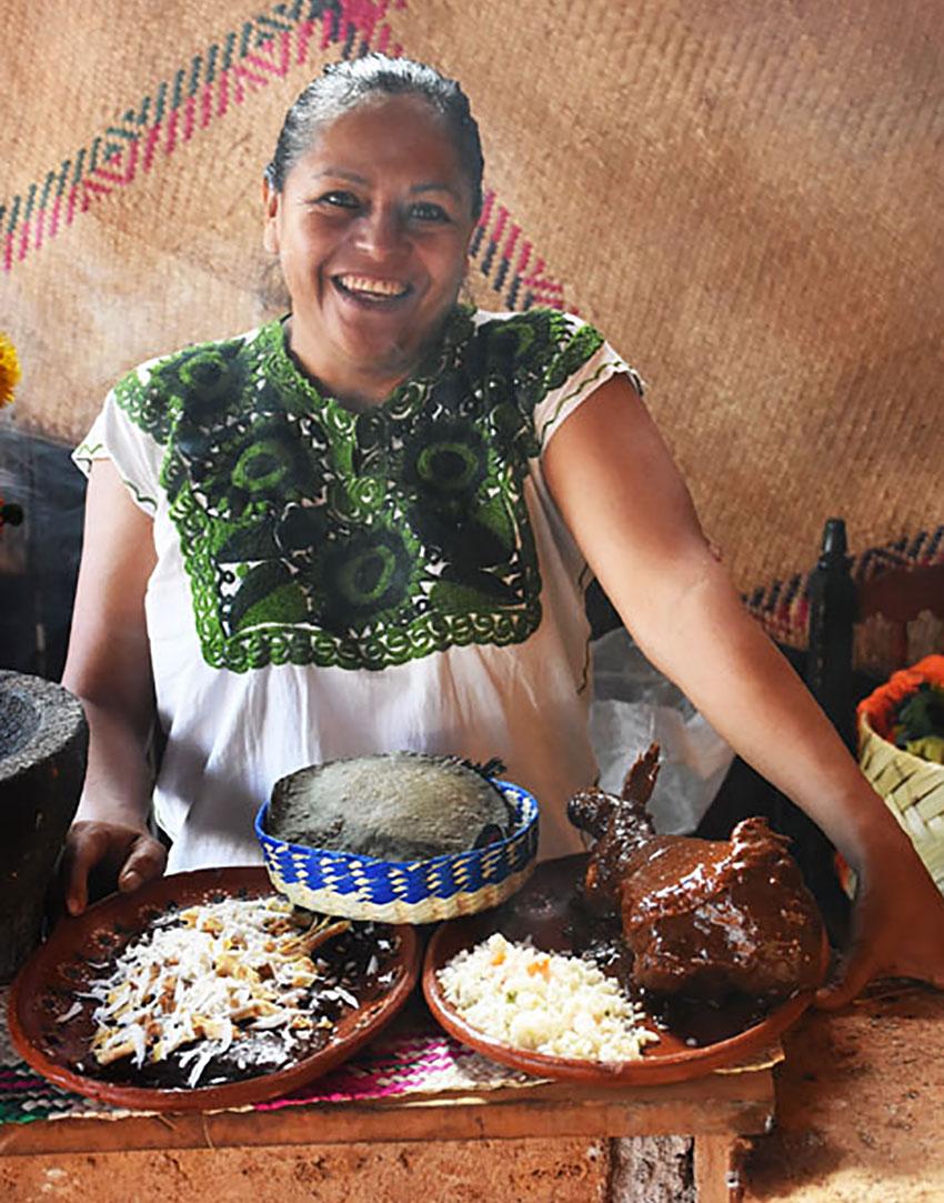 Mole is made by hand at Aurelia Arroyo's restaurant, Jacal de María Candelaria.