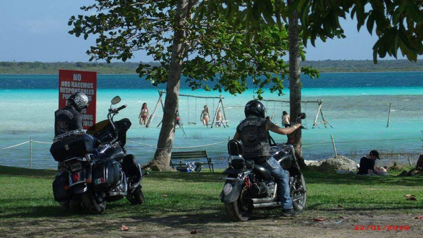 Members of the Foresteros Moto Club from Saltillo in Bacalar, Quintana Roo.