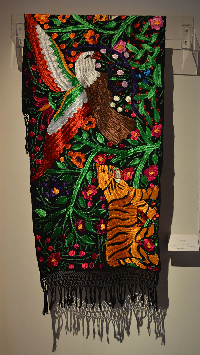 Heavily embroidered rebozo from Acatlán de Osorio, Guerrero