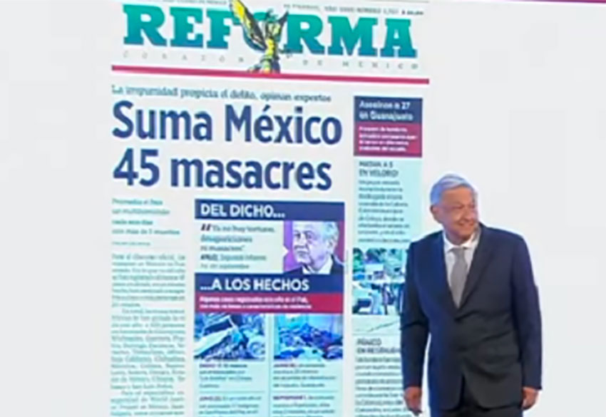 The president and Reforma's massacres story.