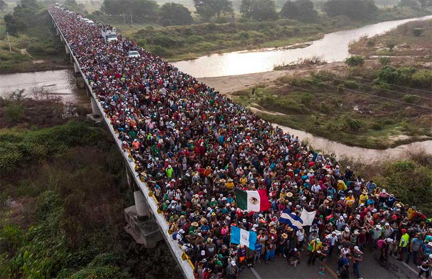 One of last year's migrant caravans crosses the southern border.