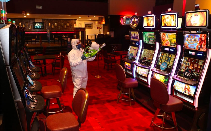 A casino is disinfected in Nuevo León, where they have been allowed to reopen.