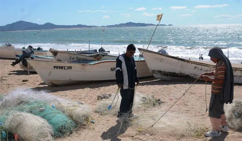 Fishboats on the beach in Baja California.