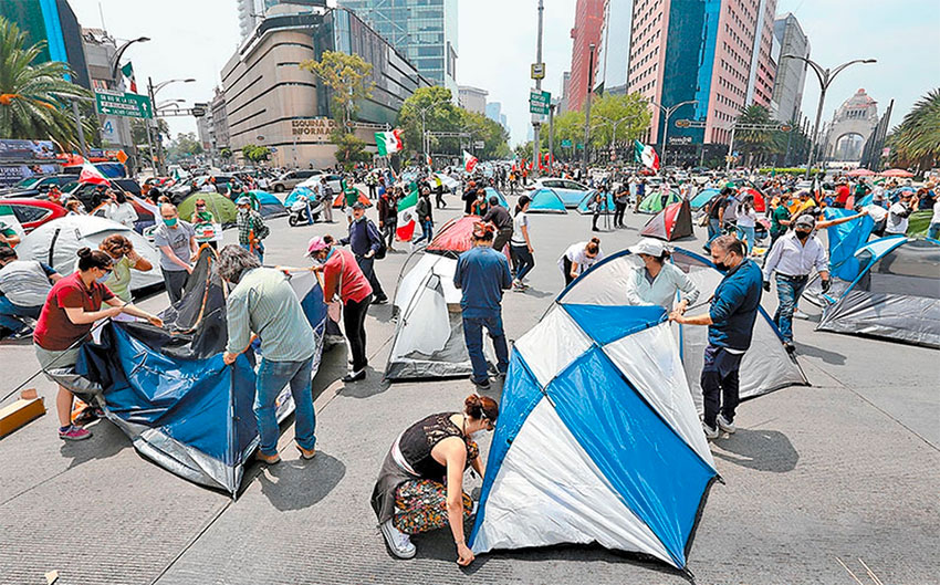 Protesters set up their camp Saturday in Mexico City.