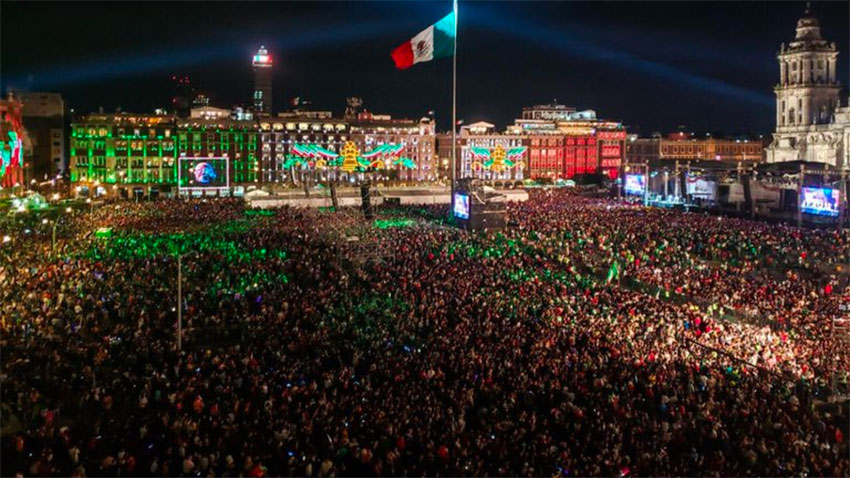 Last year's grito in the zócalo in Mexico City. This year will look rather different.