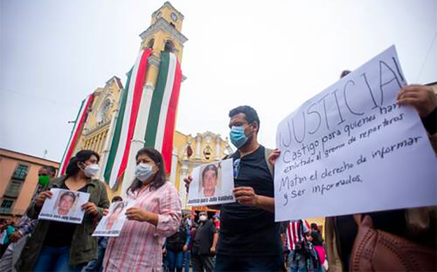 A protest by journalists in Veracruz last week over the killing of Julio Valdivia.