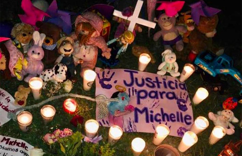 A memorial for rape and murder victim Michel Aylin.