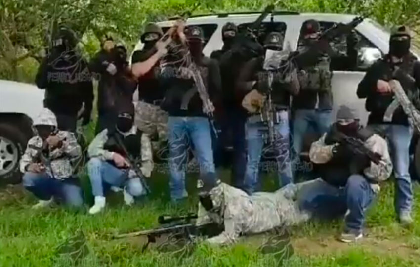 Frame from a Santa Rosa cartel video in August advising the Jalisco cartel it was still in charge in Guanajuato.