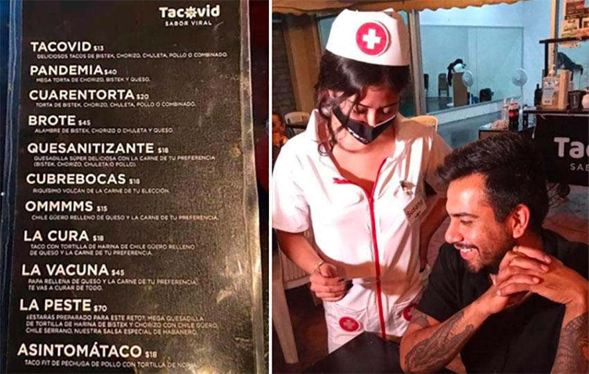 Tacovid's menu and the waitress cum nurse.