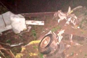 Wreckage of the jet that was stolen Tuesday in Cuernavaca.