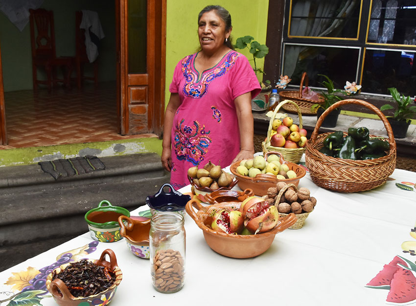 The Puebla cook and the ingredients that will go into her own version of the dish.