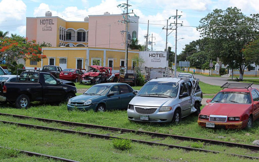 The old railway line in Izamal, Yucatán, where line 3 of the Maya Train is supposed to run.