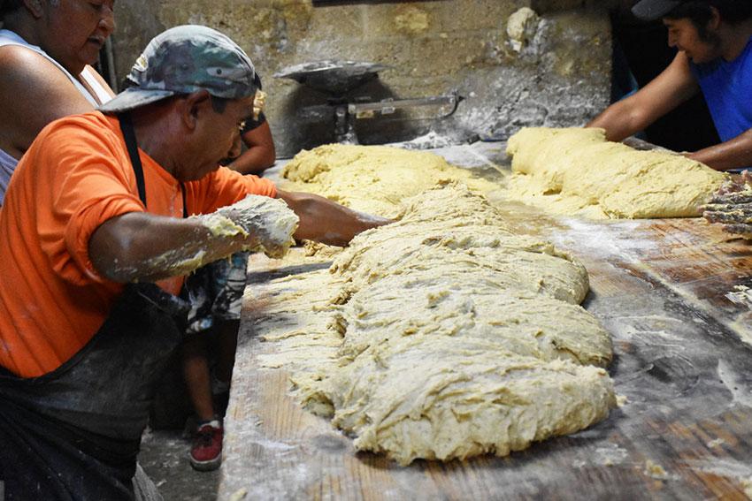 Preparing the dough at Tecalco Bakery.