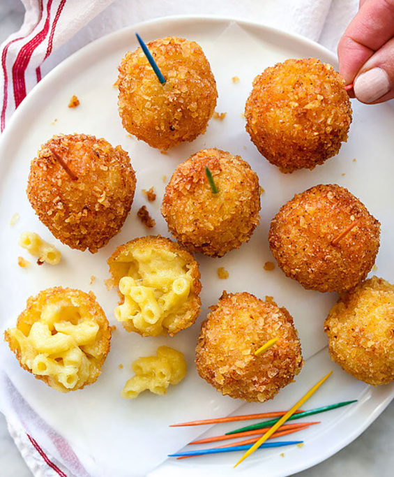 Deep-fried cheese balls—made with potato chips.