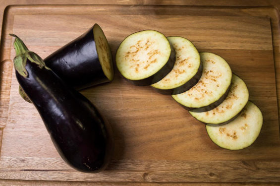 The purplish-black, pear-shaped eggplant is the most common.