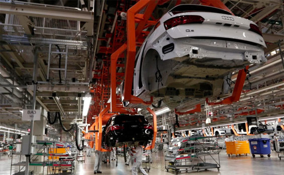 The Audi plant in Puebla, which was closed by municipal authorities on Friday.
