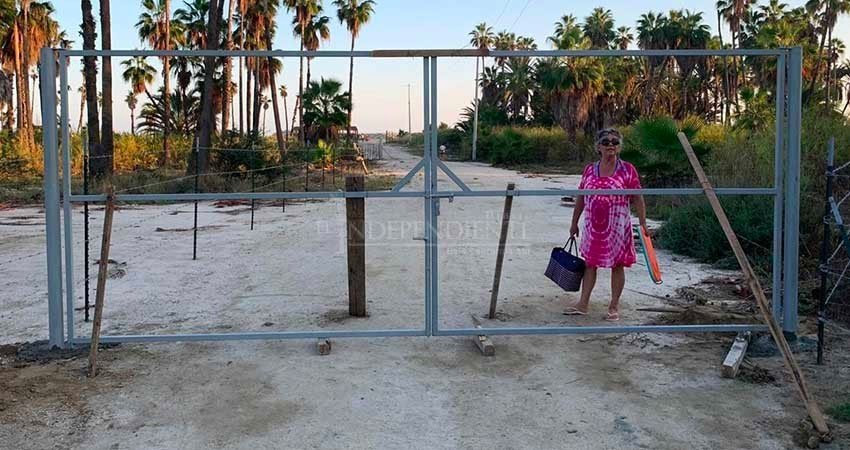 A gate blocks access to a beach in Puerto Los Cabos this week.
