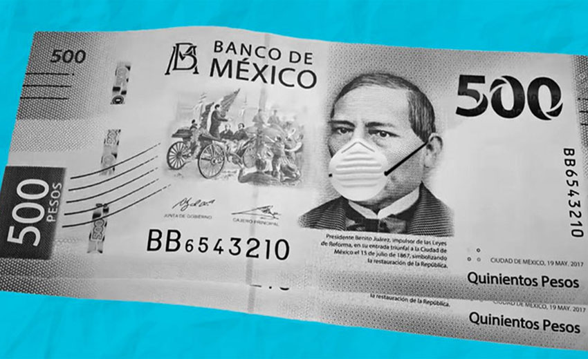500-peso bill with face mask