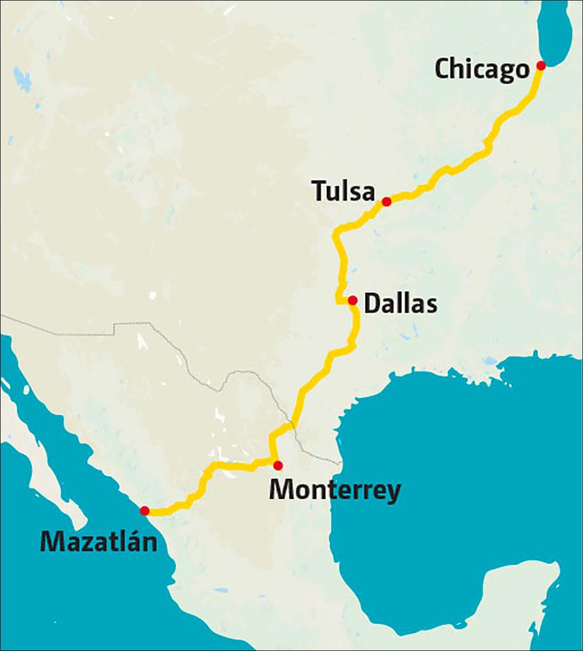 The Mazatlán-Chicago leg of the new corridor.