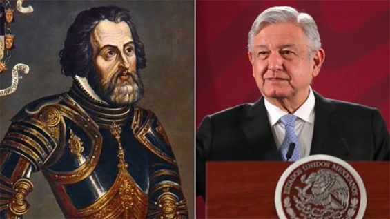 Conquistador Cortés and President López Obrador.