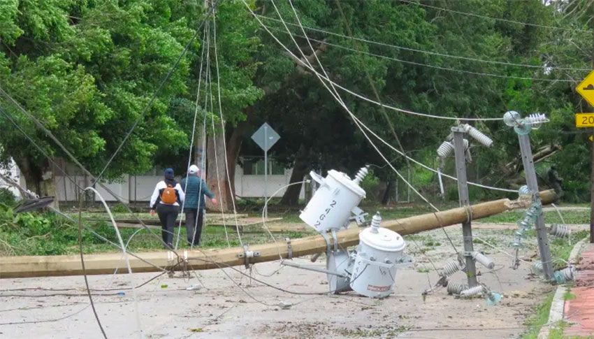 The hurricane brought down power lines but overall damage was limited.
