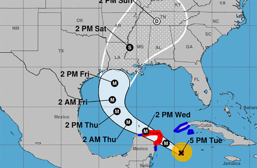 The forecast map issued at 5:00 p.m. EDT by the National Hurricane Center.
