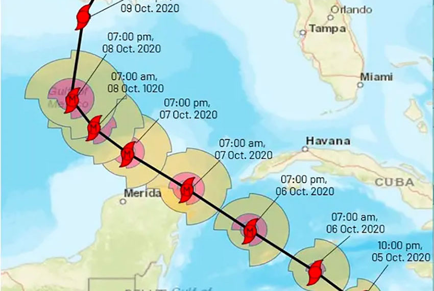 Delta's forecast track across the north end of the Yucatán Peninsula.