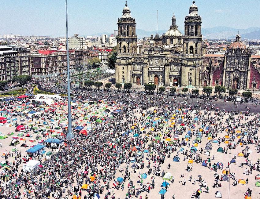 Saturday's protest in the zócalo.