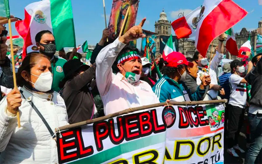 Protesters shout 'AMLO out!' during Saturday's event.