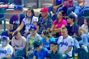 Few masks are evident among these fans at a ball game in Sinaloa.
