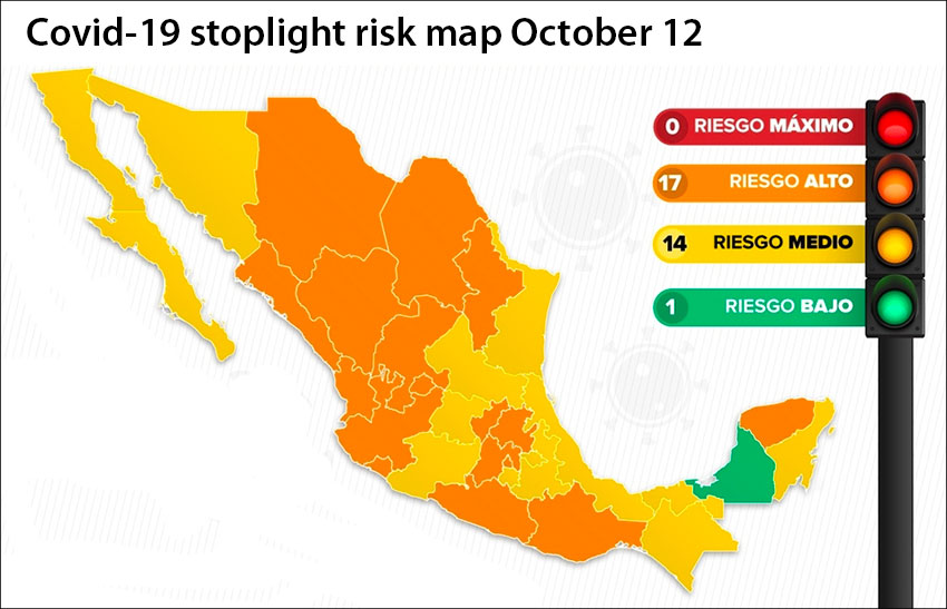 Coronavirus risk levels by state as of Monday.