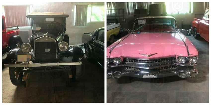 A Rolls-Royce and a pink Cadillac El Dorado