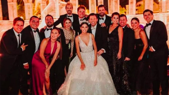 A happy wedding party in Mexicali where 100 guests were infected.