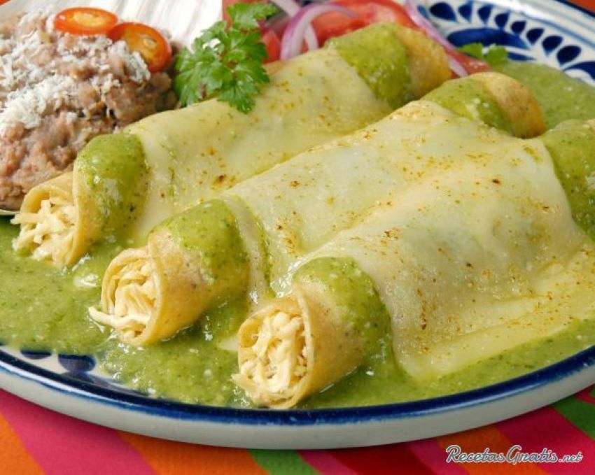 This version of Enchiladas Suizas uses a whole package of cream cheese.