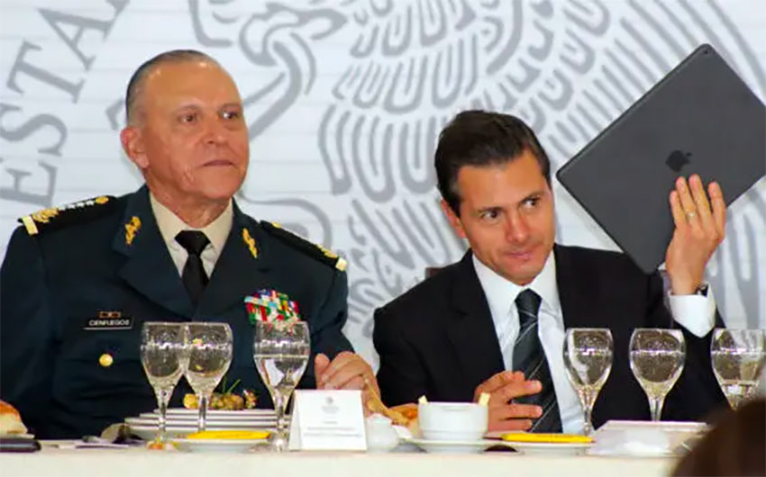 Cienfuegos and his former boss, Enrique Peña Nieto.