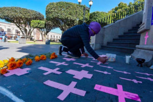 Crosses are set out in memory of women who have disappeared in México state.