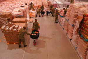 Aid for flood victims in a Tabasco warehouse.