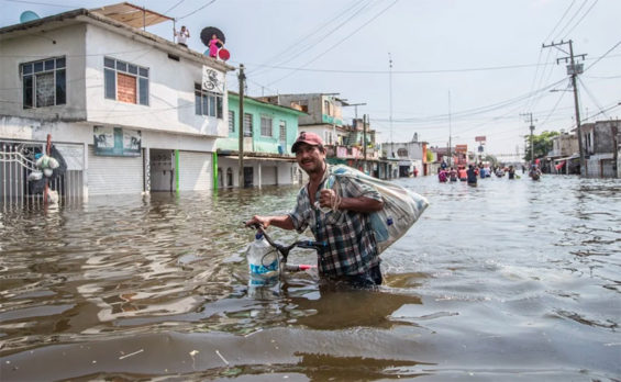 Watery conditions Monday in Villahermosa.