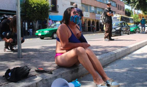 Silvia Castillo protests in San Luis Potosí.